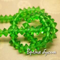 Плоские биконусы граненые. Зеленый