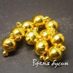 Замок магнитный, цвет золото, 8 мм