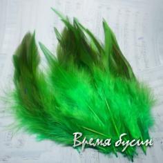 Перо петуха, цвет зеленый, длина 10-15 см (1 шт.)