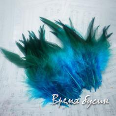 Перо петуха, цвет бирюзово-зеленый, длина 10-15 см (1 шт.)