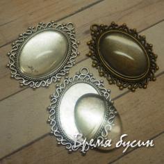 Комплект из основы под кабошон и стекла (1 комплект)