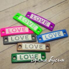 """Коннектор металлический цветной с эмалью """"LOVE"""""""