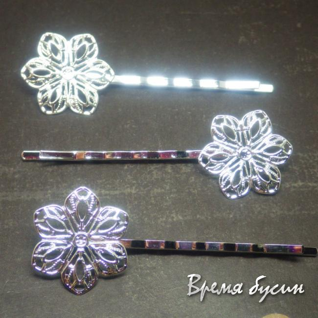 Заколка-невидимка под серебро с цветком