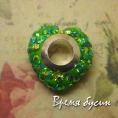 Бусина в стиле Пандора с чешскими стразами. Сердце зеленое