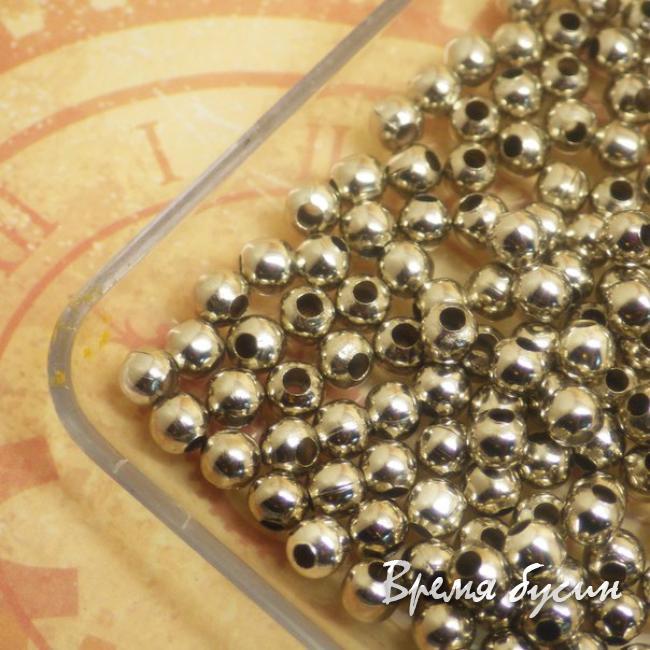 4 мм Бусина-разделитель под серебро. 5 гр