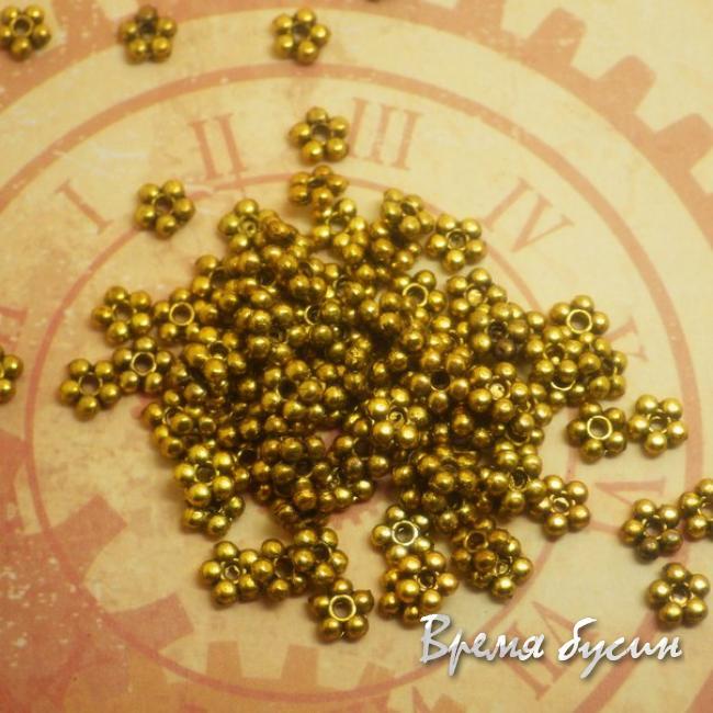 Бусина-разделитель. Объемный цветочек под золото