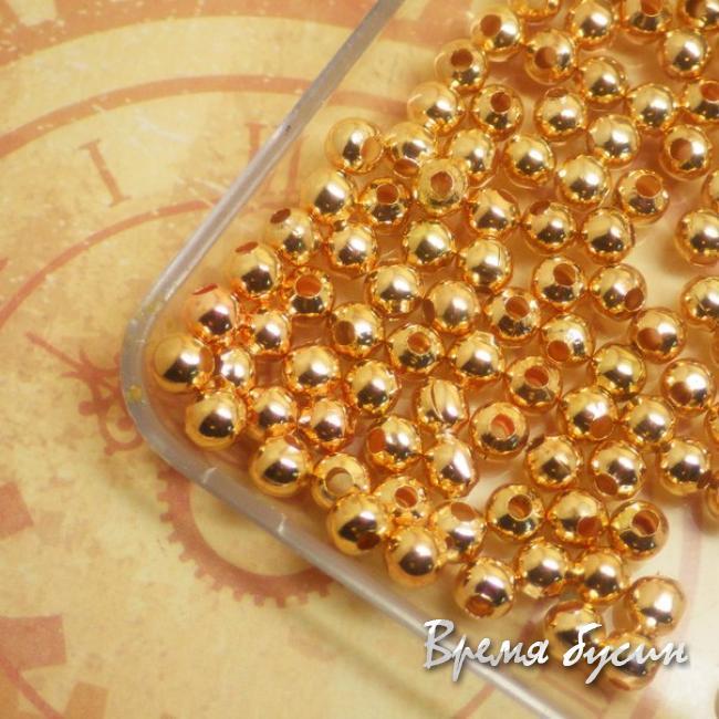 4 мм Бусина-разделитель под золото. 5 гр