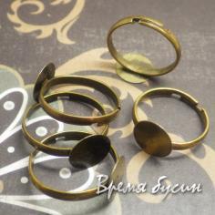 Основа для кольца с площадкой 10 мм, цв. Бронза (1 шт.)