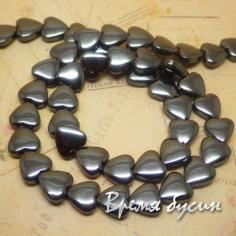 Гематит. Плоское сердце 8 мм (1 шт.)