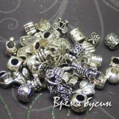 Бусина металлическая в стиле Пандора. Античное серебро. МИКС