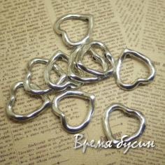 Рамки для бусин под серебро. Сердце (1 шт.)