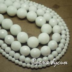 Агат белый граненый шар 4, 6, 8, 10, 12 мм