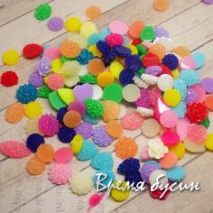Микс акриловых кабошонов разных цветов и размеров (10 шт.)