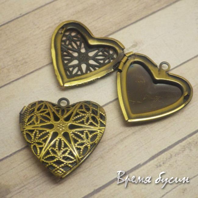 Основа для медальона. Бронзовое сердце