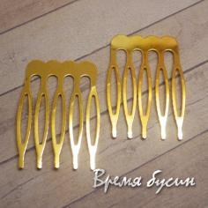 Основа для гребня плоская маленькая, цвет золото, 25х40 мм (1 шт.)