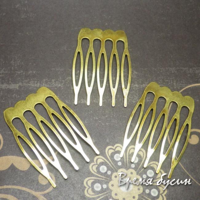 Основа для гребня плоская маленькая, цвет бронза, 25х40 мм (1 шт.)