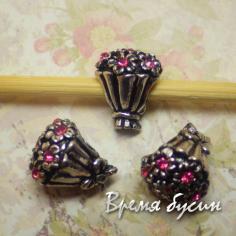 Бусина в стиле Пандора со стразами. Розовый букет
