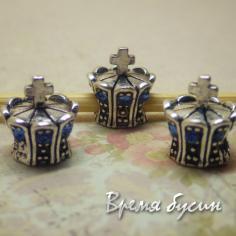 Бусина в стиле Пандора со стразами. Корона с голубыми стразами
