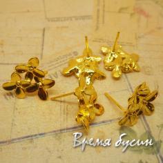 """Швензы гвоздики под яркое золото  """"Цветы"""""""