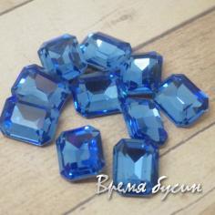 Стразы конусные из граненого стекла. Прямоугольник 8х10 мм. Голубой
