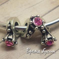 Бусина в стиле пандора со стразами. Кольцо с розовым камнем
