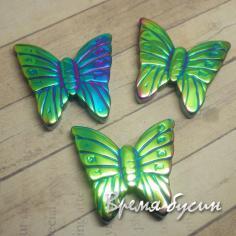 Гематит. Бусина-подвеска бабочка зеленая