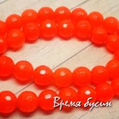 Агат граненый 8 мм, цв. Оранжевый (1 шт.)