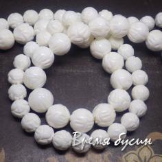 Коралл резной белый, бусины 8-10 мм (1 шт.)