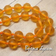 Бусины стеклянные матовые с кругами, шарик 8 мм, цв. оранжевый   (1 шт.)