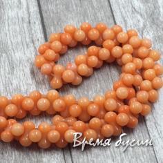 Коралл мелкие бусины гантели, цвет оранжевый (1 шт.)