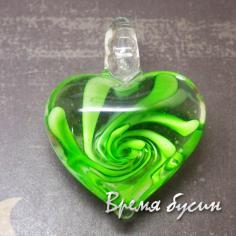 Подвеска из муранского стекла. Сердце зеленое