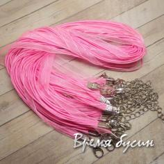 Основа для кулона 3 шнура и лента. Розовый