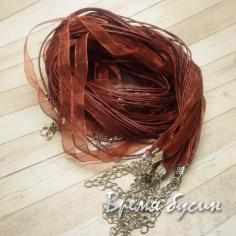 Основа для кулона 3 шнура и лента. Шоколадный