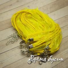 Основа для кулона 3 шнура и лента. Лимонный