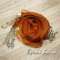 Основа для кулона 3 шнура и лента. Коричневый