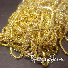 Плотная стразовая цепь SS6. Кристалл в золоте (10 см.)