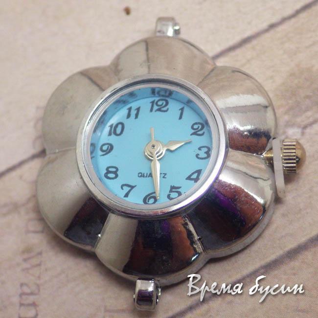 Основа для часов, цвет серебро, циферблат арабский, голубой