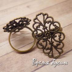 Основа для кольца под бронзу с площадкой из филиграни