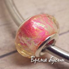 Граненые акриловые бусины в стиле Пандора. Флюоресцентный розовый