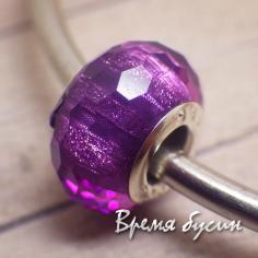 Граненые акриловые бусины в стиле Пандора. Блестящий фиолетовый