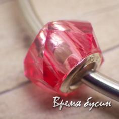 Граненые акриловые бусины в стиле Пандора. Розовый