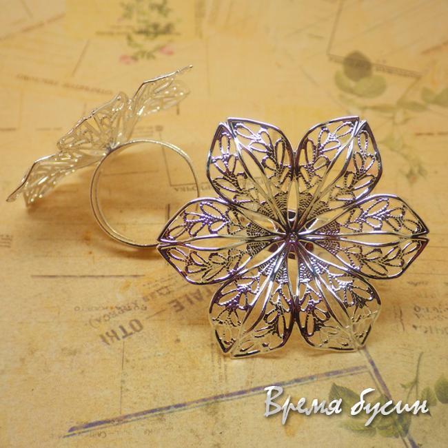 Основа для кольца. Цветок 6 лепестков. Цвет серебро