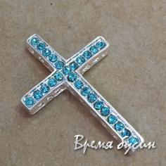 Коннектор Крест под серебро с бирюзовыми стразами