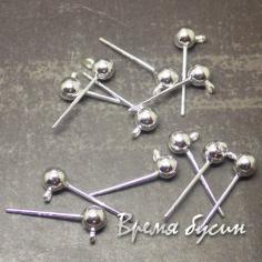 Швензы гвоздики, покрытие серебром 925 пробы (1 пара)