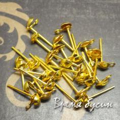 Швензы гвоздики, цвет золото, 4х8 мм (5 пар)