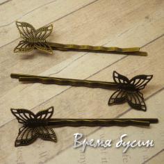 Заколка-невидимка с бабочкой, цвет бронза