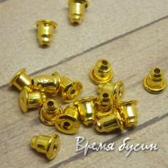 Заглушки для пуссет, 6 мм, цвет золото (10 шт.)