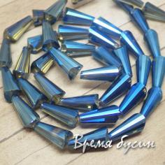 Бусины-конусы из граненого стекла, 8х18 мм (1 шт.)