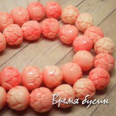 Коралл синтетический Лотос, размер 12 мм, бледно-розовый