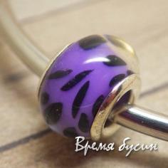 Гладкие акриловые бусины в стиле Пандора. Фиолетовые с пятнами
